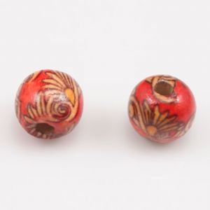 Wooden beads, Wood, red, Round shape, Diameter 12mm, 20 Beads, (MZP131)
